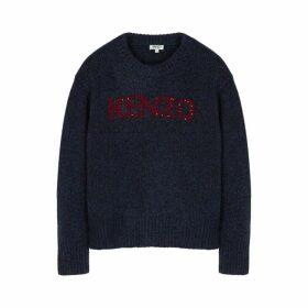 Kenzo Navy Logo-intarsia Knitted Jumper