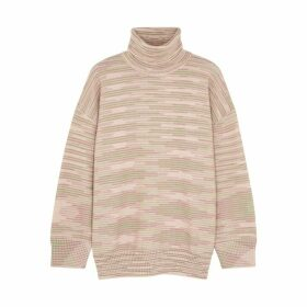 M Missoni Pink Striped Roll-neck Wool Jumper