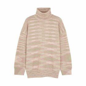 M Missoni Pink Striped Roll-neck Wool Jumper