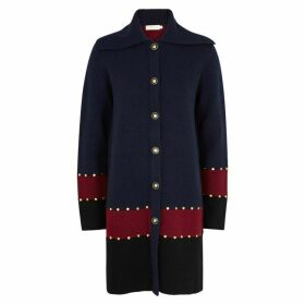Tory Burch Colour-blocked Wool-blend Cardigan