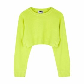 THREADS OF PRVLG Neon Yellow Cropped Cashmere Jumper