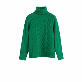 Chinti & Parker Green Pop Aran Merino Wool Sweater