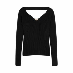 No.21 Black Ribbed Wool-blend Jumper