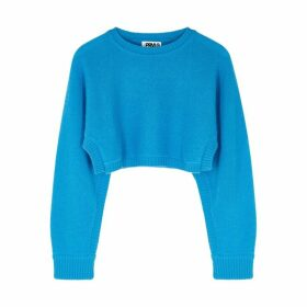 THREADS OF PRVLG Blue Cropped Cashmere Jumper
