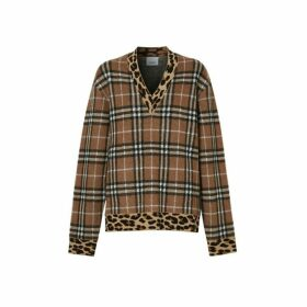 Burberry Leopard Detail Vintage Check Cashmere Blend Sweater