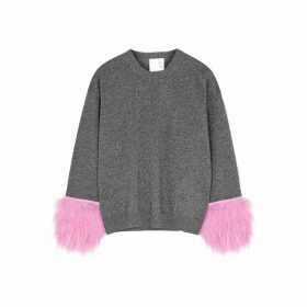 IN. NO Grey Feather-trimmed Wool-blend Jumper