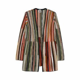 M Missoni Striped Fine-knit Wool-blend Cardigan