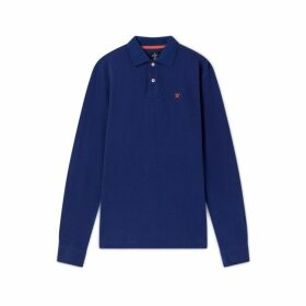 Hackett Small Embroidered Logo Cotton Long-sleeved Polo Shirt
