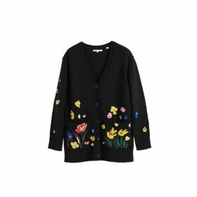 Chinti & Parker Black Charleston Embroidered Merino Wool Cardigan