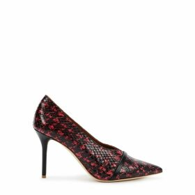 Malone Souliers Constance 85 Black And Pink Elaphe Pumps