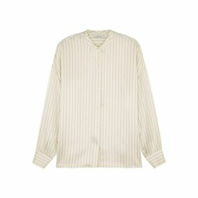 Vince Cream Striped Silk Shirt