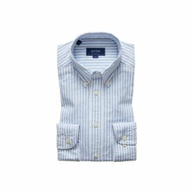 Eton Soft Blue Striped Royal Oxford Shirt - Contemporary Fit