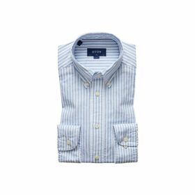 Eton Soft Navy Striped Royal Oxford Shirt - Slim Fit