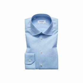 Eton Blue Plain Poplin Shirt - Contemporary Fit