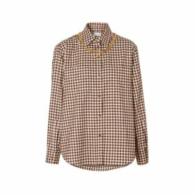 Burberry Chain Detail Gingham Cotton Flannel Oversized Shirt