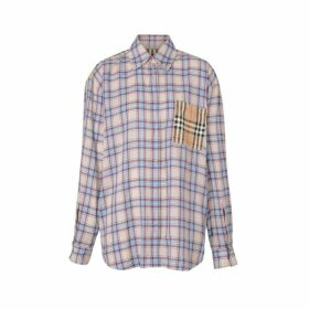 Burberry Vintage Check Panel Check Voile Shirt