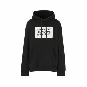 Burberry Logo Applique Cotton Hoodie
