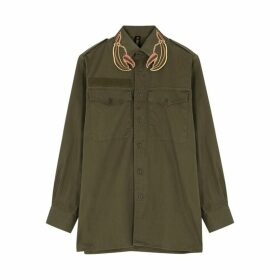 RAGYARD Army Green Lobster-embroidered Cotton Shirt