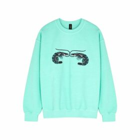 RAGYARD Mint Embroidered Cotton-blend Sweatshirt