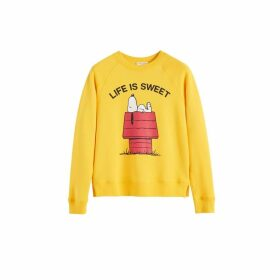 Chinti & Parker Yellow Snoopy Life Is Sweet Cotton Sweatshirt