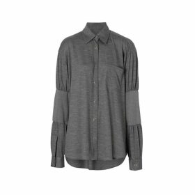 Burberry Panelled-sleeve Wool Shirt