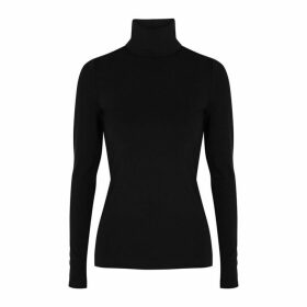 Wolford Aurora Black Roll-neck Jersey Top