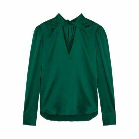 Veronica Beard Wade Green Stretch-silk Blouse