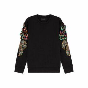 RAGYARD Peacock Feather-appliquéd Jersey Sweatshirt