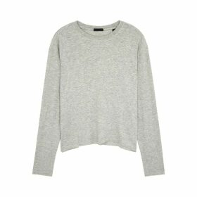 ATM Anthony Thomas Melillo Light Grey Ribbed Jersey Top