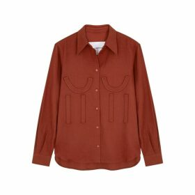 PushBUTTON Terracotta Appliquéd Cotton Shirt