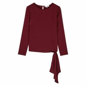 MILLY Burgundy Draped Stretch-silk Top