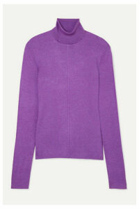 Sally LaPointe - Ribbed Cashmere And Silk-blend Turtleneck Sweater - Purple