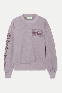 Aries - Column Printed Mélange Cotton-jersey Sweatshirt - Antique rose