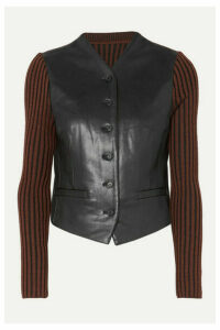 Pushbutton - Paneled Faux Leather And Ribbed Wool Top - Black