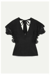 Kiki de Montparnasse - Open-back Lace-trimmed Stretch-silk Crepe Top - Black