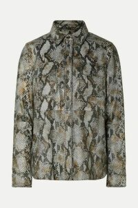 Stand Studio - Idit Snake-effect Leather Shirt - Gray