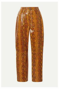 GRLFRND - Shiloh Glossy Snake-effect Leather Straight-leg Pants - Snake print