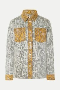 Stand Studio - Mazal Paneled Snake-effect Leather Shirt - Gray