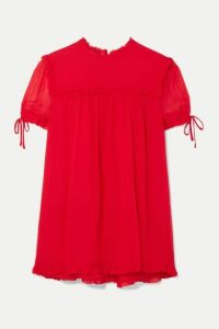 Miu Miu - Ruffled Silk-crepon Blouse - Tomato red