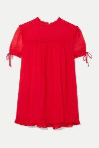 Miu Miu - Ruffled Silk-crepon Blouse - Tomato red