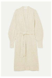 REMAIN Birger Christensen - Diana Belted Ribbed Wool-blend Cardigan - Ecru