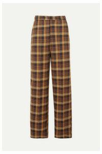 REMAIN Birger Christensen - Dublin Checked Cotton-blend Straight-leg Pants - Orange