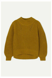 J.Crew - Pointelle-trimmed Ribbed Cotton Sweater - Yellow