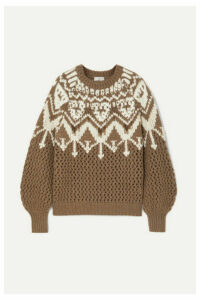Brunello Cucinelli - Bead-embellished Fair Isle Cashmere Sweater - Brown