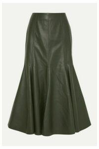 Gabriela Hearst - Amy Leather Midi Skirt - Army green