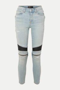 AMIRI - Mx2 Zip-embellished Leather-paneled High-rise Skinny Jeans - Light denim