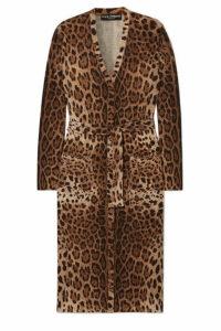 Dolce & Gabbana - Belted Leopard-print Wool Cardigan - Leopard print