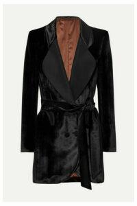 Blazé Milano - Etoile Double-breasted Silk Faille-trimmed Houndstooth Velvet Blazer - Black