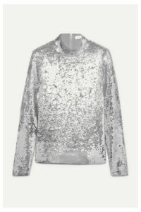 Veronica Beard - Lucina Sequined Stretch-tulle Top - Silver