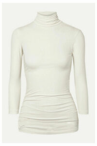 James Perse - Ruched Stretch-cotton Jersey Turtleneck Top - Ivory